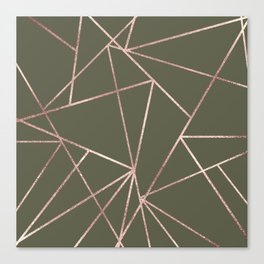 Modern Military Green Rose Gold Triangle Geo Canvas Print
