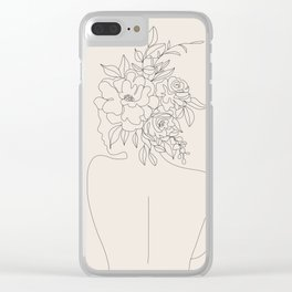 Woman with Flowers Minimal Line I Clear iPhone Case