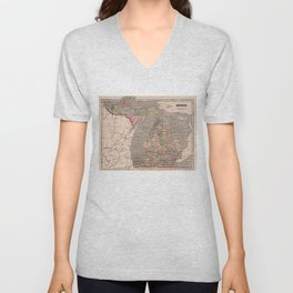 Vintage Map of Michigan (1844) Unisex V-Neck