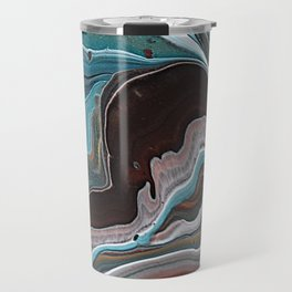Fluid Art Geode Look Brown and Blue Travel Mug