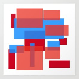 blocks of red and blue Art Print