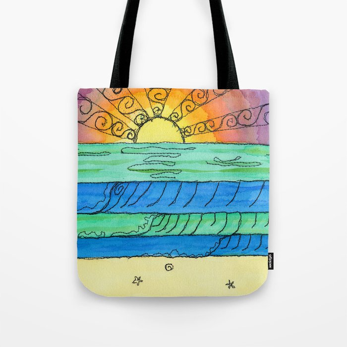 Stitched Watercolour Rainbow Sunset Tote Bag