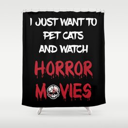 Pet Cat Watch Horror Movie Shower Curtain