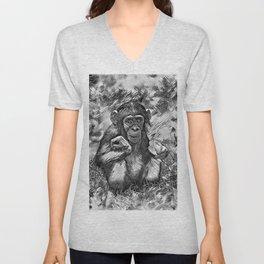 AnimalArtBW_Chimpanzee_20170603_by_JAMColorsSpecial Unisex V-Neck
