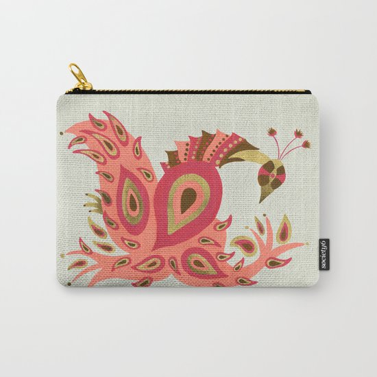 Peacock – Rose & Gold Carry-All Pouch