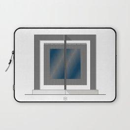 Escultura Cubo virtual azul y negro con progresión amarilla Laptop Sleeve