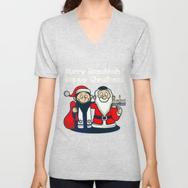 Happy Jewish Christmas Santa Fan And Jew Gift Unisex V-Neck