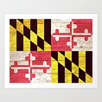 maryland Art Prints featuring Maryland by C Liza B