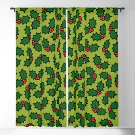Holly Leaves and Berries Pattern in Light Green Blackout Curtain