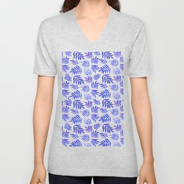 Watercolor branches pattern - blue Unisex V-Neck