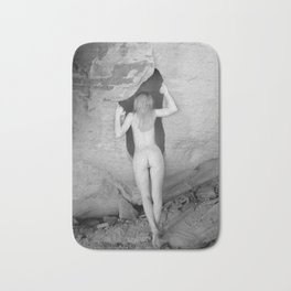 4094  Rear View B&W Nude Woman Naked Desert Feminine Classic Female Form Beautiful  Bath Mat
