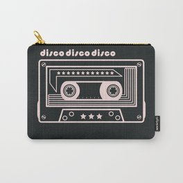 Black and White Disco Music Cassette Carry-All Pouch