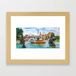 JC Nichols Fountain and Kansas City Plaza Panorama Framed Art Print