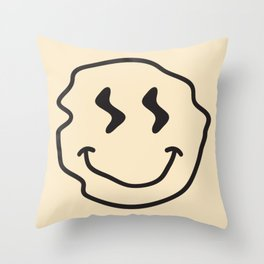 Wonky Smiley Face - Black and Cream Throw Pillow