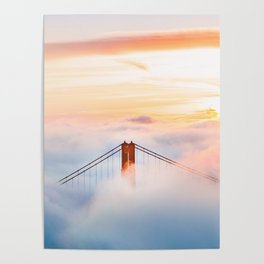 Golden Gate Bridge at Sunrise from Hawk Hill - San Francisco, California Poster
