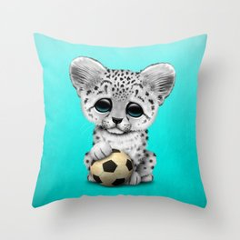 Snow leopard Cub With Football Soccer Ball Throw Pillow