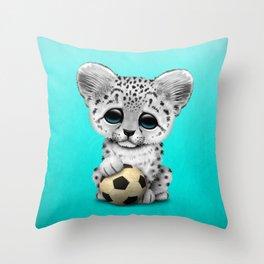Snow leopard Cub With Football Soccer Ball Throw Pillow