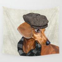 dachshund Wall Tapestries featuring Elegant Mr. Dachshund by Roberta Jean Pharelli