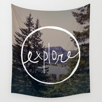 oregon Wall Tapestries featuring Explore Oregon by Leah Flores