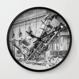 Train Wreck At Montparnasse Station - 1895 Wall Clock