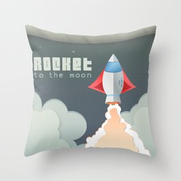 Rocket to the moon! Throw Pillow