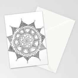 Black and White Circle Doodle Stationery Cards