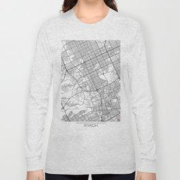 Riyadh Map White Long Sleeve T-shirt