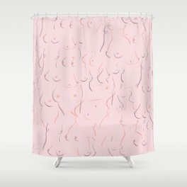 Breasts in Millennial Pink Shower Curtain