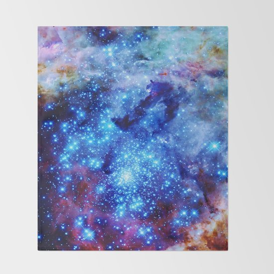 Galaxy blue sparkle throw blanket by 2sweet4words designs for Space design blanket