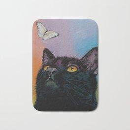 Black Cat Butterfly Bath Mat
