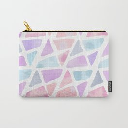 Blush Pink Lavender Watercolor Triangles Pattern Carry-All Pouch