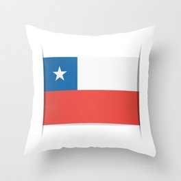 Flag of Chile.  The slit in the paper with shadows. Throw Pillow