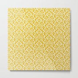 Art Nouveau Pattern Mustard Yellow Metal Print