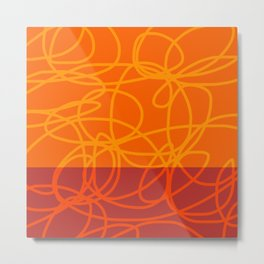 Chaos Lines On Red Orange Horizon Minimal Abstract Art Dalim Metal Print