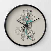 seattle Wall Clocks featuring Seattle by linnydrez