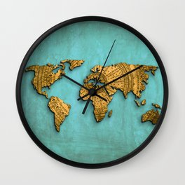 Vintage World Map on Jade Dragon Teal Wall Clock