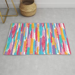 Colorful crayons brushstrokes pattern Rug