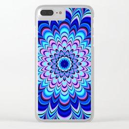 Neon blue striped mandala Clear iPhone Case