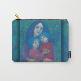Bedtime fairytale, pastel painting, mother and children, fine art, fantasy, blue, green, pink colors Carry-All Pouch