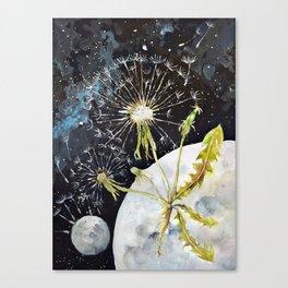 Dandelion Moon Surreal Space Travel, Taraxacum Canvas Print