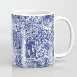 Boho blue dreamcatcher feathers floral illustration Coffee Mug