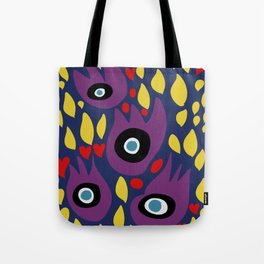 Purple Birds in the Night Illustration Art Tote Bag