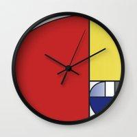 fibonacci Wall Clocks featuring Mondrian vs Fibonacci by Psocy Shop