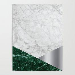 White Marble - Green Granite & Silver #999 Poster
