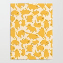 Yellow Cats Pattern Poster