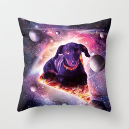 Outer Space Galaxy Dog Riding Pizza Throw Pillow