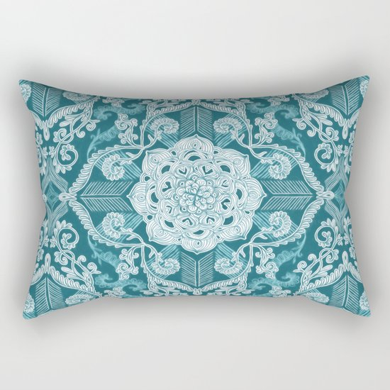 Centered Lace - Teal  Rectangular Pillow