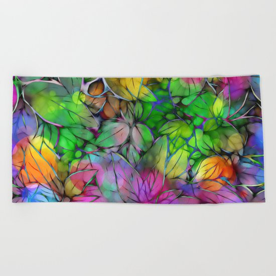 Dream Colored Leaves Beach Towel