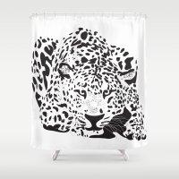 leopard Shower Curtains featuring Leopard  by Karen Hischak