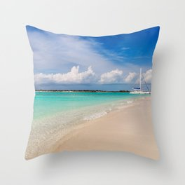 Catamaran on deserted white sand beach Throw Pillow